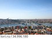 Skyline of Istanbul, as seen from Galata Turm. View of the Golden Horn Metro Bridge and Ataturk Bridge. City of Istanbul, Turkey. (2020 год). Стоковое фото, фотограф Bala-Kate / Фотобанк Лори
