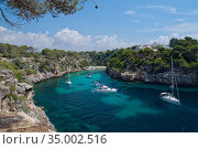 Yachts moored in the cove at Cala Pi, viewed from clifftops, Mallorca south coast, August 2018. Стоковое фото, фотограф Nick Upton / Nature Picture Library / Фотобанк Лори