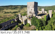 View of medieval Puivert castle. Languedoc-Roussillon region. France. Стоковое видео, видеограф Яков Филимонов / Фотобанк Лори