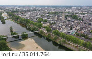 Aerial panoramic view of Tours city in Loire valley of France. Стоковое видео, видеограф Яков Филимонов / Фотобанк Лори