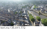 Aerial view of Lannion city on the Lege river, Brittany region in France. Стоковое видео, видеограф Яков Филимонов / Фотобанк Лори