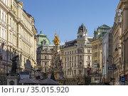 Fussgängerzone Graben und die Wiener Pestsäule, Wien, Österreich, ... Стоковое фото, фотограф Peter Schickert / age Fotostock / Фотобанк Лори