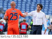 Pepe Reina (Lazio) and Simone Inzaghi head coach of Lazio at the ... Редакционное фото, фотограф Federico Proietti / Sync / AGF/Federico Proietti / / age Fotostock / Фотобанк Лори