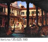 Brandeis Antonietta - People in the Cortile DI San Gregorio Venice... Редакционное фото, фотограф Artepics / age Fotostock / Фотобанк Лори