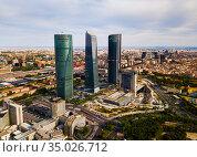 Aerial view of four Towers Business Area in Madrid (2019 год). Редакционное фото, фотограф Яков Филимонов / Фотобанк Лори