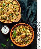 Pakistani chicken biryani rice, top view, vertical. Стоковое фото, фотограф Ольга Сергеева / Фотобанк Лори