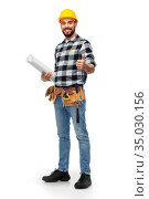 worker or builder with blueprint showing thumbs up. Стоковое фото, фотограф Syda Productions / Фотобанк Лори