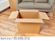 empty corrugated box and sofa at new home. Стоковое фото, фотограф Syda Productions / Фотобанк Лори