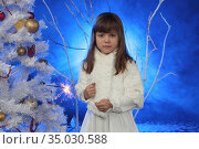 Girl holding sparkler in New Year's decorations. Стоковое фото, фотограф Марина Володько / Фотобанк Лори