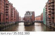 Speicherstadt view at daytime, Hamburg (2018 год). Стоковое фото, фотограф EugeneSergeev / Фотобанк Лори