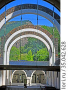 Arcades, Basilica, Sanctuary, Nostra, Senyora, Meritxell, 1975, architect... Стоковое фото, фотограф Alfred Abad / age Fotostock / Фотобанк Лори