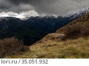 Country road in the highlands (Greece, Peloponnese) on a winter, snowy day. Стоковое фото, фотограф Татьяна Ляпи / Фотобанк Лори