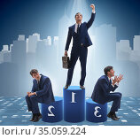 Businessman winning the first place in competition concept. Стоковое фото, фотограф Elnur / Фотобанк Лори