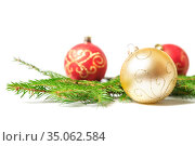 Christmas baubles and fir branches. Стоковое фото, фотограф Юлия Бабкина / Фотобанк Лори
