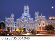 Madrid City Town Hall, Cibeles Palace, Neogothic style, in Cibeles... Стоковое фото, фотограф Candy Lopesino / age Fotostock / Фотобанк Лори
