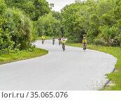 People riding bicycles in J. N. Ding Darling National Wildlife Refuge... Стоковое фото, фотограф James Schwabel / age Fotostock / Фотобанк Лори