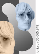 Funky woman in sunglasses. Crazy lady and surreal composition of textures, shapes, gradients. Contemporary art collage. Zine culture. Pop art. Fashion magazine style for posters, banners, wallpaper. Стоковая иллюстрация, иллюстратор bashta / Фотобанк Лори
