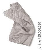 Gray linen napkin isolated on white. Стоковое фото, фотограф Ольга Сергеева / Фотобанк Лори