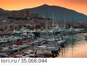 Ajaccio Marina at sunset. Corsica landscape (2015 год). Стоковое фото, фотограф EugeneSergeev / Фотобанк Лори