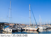 Yachts and boats are moored in marina of Ajaccio (2015 год). Редакционное фото, фотограф EugeneSergeev / Фотобанк Лори