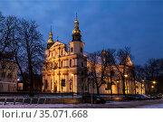 The Church of Saint Bernardino in Krakow by night, Poland (2014 год). Стоковое фото, фотограф Наталья Волкова / Фотобанк Лори