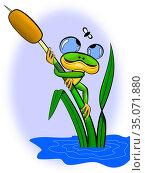 Лягушонок на камыше. Стоковая иллюстрация, иллюстратор Александр Княжецкий / Фотобанк Лори