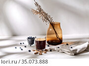 glass of coffee, brown sugar and blueberries. Стоковое фото, фотограф Syda Productions / Фотобанк Лори