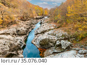 Belaya riverbed among mountains and forests in the Republic of Adygea in Russia. Стоковое фото, фотограф Владимир Ушаров / Фотобанк Лори