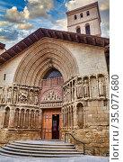 Church of San Bartolomé, Way of Saint James, Camino de Santiago, ... Стоковое фото, фотограф Javier Larrea / age Fotostock / Фотобанк Лори