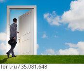 Businessman standing in front of door into future. Стоковое фото, фотограф Elnur / Фотобанк Лори