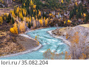 Top view of the Chuya river in autumn. Altai Republic, Russia. Стоковое фото, фотограф Наталья Волкова / Фотобанк Лори