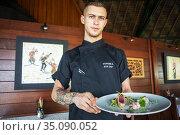 Stephane A the sous chef of Le Meridien Hotel on the island of Tahiti... Редакционное фото, фотограф Sergi Reboredo / age Fotostock / Фотобанк Лори
