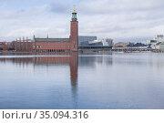 Вид здание Ратуши облачным мартовским днем. Стокгольм, Швеция (2019 год). Редакционное фото, фотограф Виктор Карасев / Фотобанк Лори