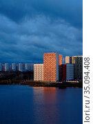 New colored residential buildings with reflection. Стоковое фото, фотограф Азат Хайрутдинов / Фотобанк Лори