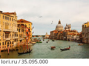 Venice, the Grand canal, the Cathedral of Santa Maria della Salute and gondolas with tourists (2017 год). Редакционное фото, фотограф Наталья Волкова / Фотобанк Лори