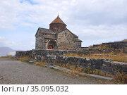 Церковь Святого Карапета монастыря Севанаванк в облачный день. Армения (2016 год). Стоковое фото, фотограф Мартынов Антон / Фотобанк Лори