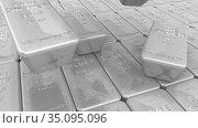Серебряные слитки высшей пробы. Стоковая анимация, видеограф WalDeMarus / Фотобанк Лори