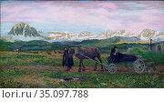 Giovanni Segantini -Ritorno al paese Natale - XIX th century - Italian... Редакционное фото, фотограф Artepics / age Fotostock / Фотобанк Лори