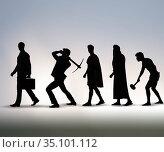 Progression of man mankind from ancient to modern. Стоковое фото, фотограф Elnur / Фотобанк Лори