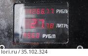 Счетное устройство топливо-раздаточной колонки. Стоковое видео, видеограф Антонина / Фотобанк Лори