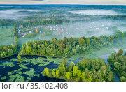 Вид сверху на разлив реки Шуя в начале лета. Деревня Виданы. Карелия. Стоковое фото, фотограф Сергей Цепек / Фотобанк Лори