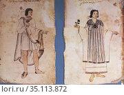 Central Mexican couple at Codex Tudela, 16th-century pictorial Aztec... Стоковое фото, фотограф Juan García Aunión / age Fotostock / Фотобанк Лори