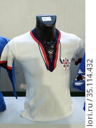 Gigi Riva's T-shirt, Cagliari Calcio, 1969-1970 season. Sports memorabilia... Редакционное фото, фотограф Renato Valterza / AGF/Renato Valterza / AGF / age Fotostock / Фотобанк Лори
