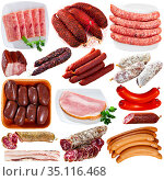 Collage of sausages and deli meats isolated on white. Стоковое фото, фотограф Яков Филимонов / Фотобанк Лори