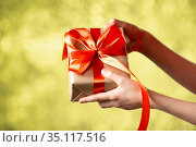 Hands Holding Craft Gift Box With Red Ribbon on Abstract Bokeh Background. Стоковое фото, фотограф Иван Карпов / Фотобанк Лори