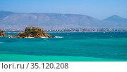 Panoramic view of Votsalakia beach touristic quarter with rocky islet... Редакционное фото, фотограф bialorucki bernard / age Fotostock / Фотобанк Лори