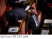 Matteo Salvini, Senator Lega during the speech of the Italian Prime... Редакционное фото, фотограф Alessandro Serrano' / AGF/Alessandro Serrano' / / age Fotostock / Фотобанк Лори