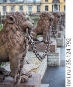 Fragment of the lions fence of the summer residence (dacha) of Kushelev-Bezborodko, Saint-Petersburg, Russia (2014 год). Стоковое фото, фотограф Юлия Бабкина / Фотобанк Лори