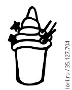 Icon of ice cream in a glass with berries, cold dessert painted in black and white on a white background. Vector image. Стоковая иллюстрация, иллюстратор Катерина Белякина / Фотобанк Лори