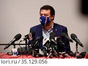 Matteo Salvini during a press conference following the hearing in... Редакционное фото, фотограф Fortunato Serrano' / age Fotostock / Фотобанк Лори